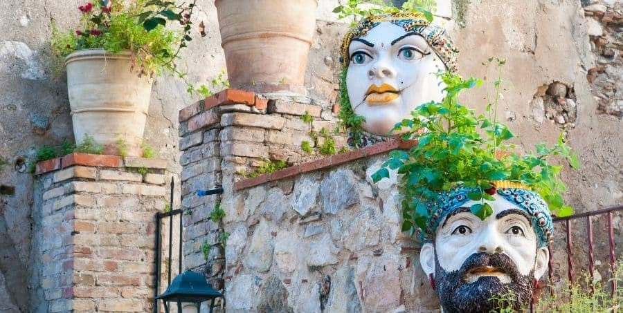 See ceramic Sicilian heads on Sicily holiday